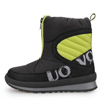Детские зимние сапоги для мальчика Uovo Черные с зеленым (52071)