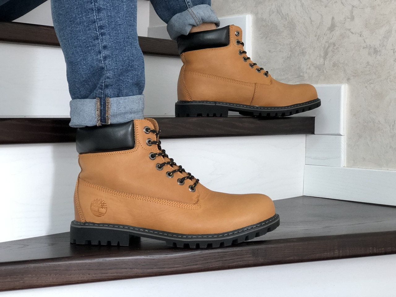 Мужские зимние ботинки Timberland,Тимберленд,рыжие