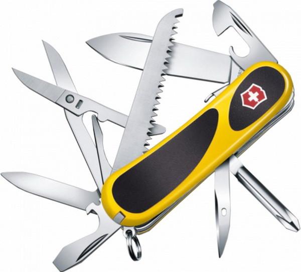 Нож складной, мультитул Victorinox Evogrip S18 (85мм, 15 функций), желтый 2.4913.SC8