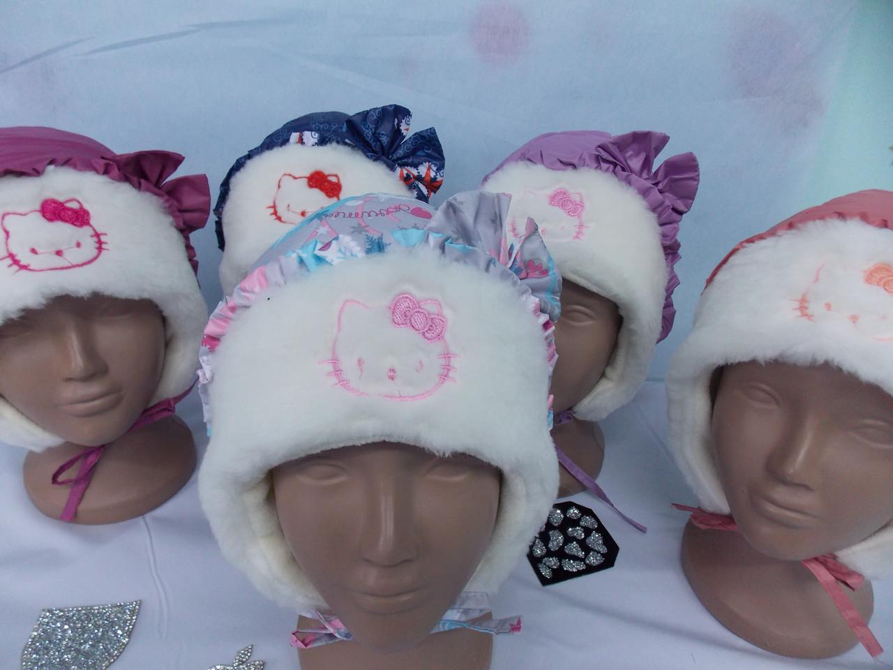 Шапка зимняя для девочки с меховой отделкой размер 48