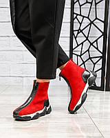 Деми спортивные ботинки замшевые красные