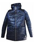 Легка жіноча демісезонна куртка з накладною кишенею, синя, розміри 48 - 54, фото 4