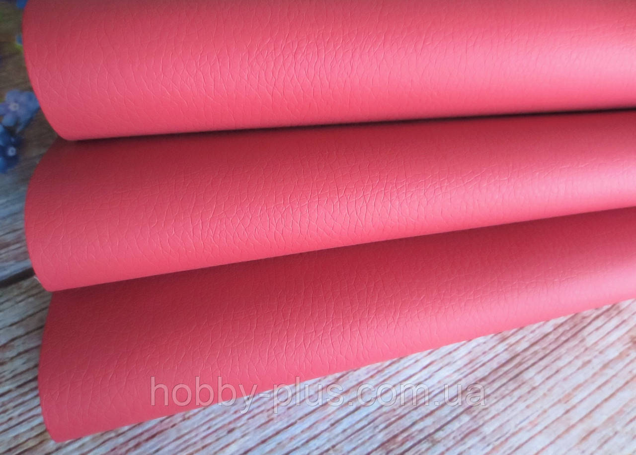 Кожзам (экокожа) матовый фактурный на тканевой основе, КОРАЛЛОВЫЙ, 20х28 см