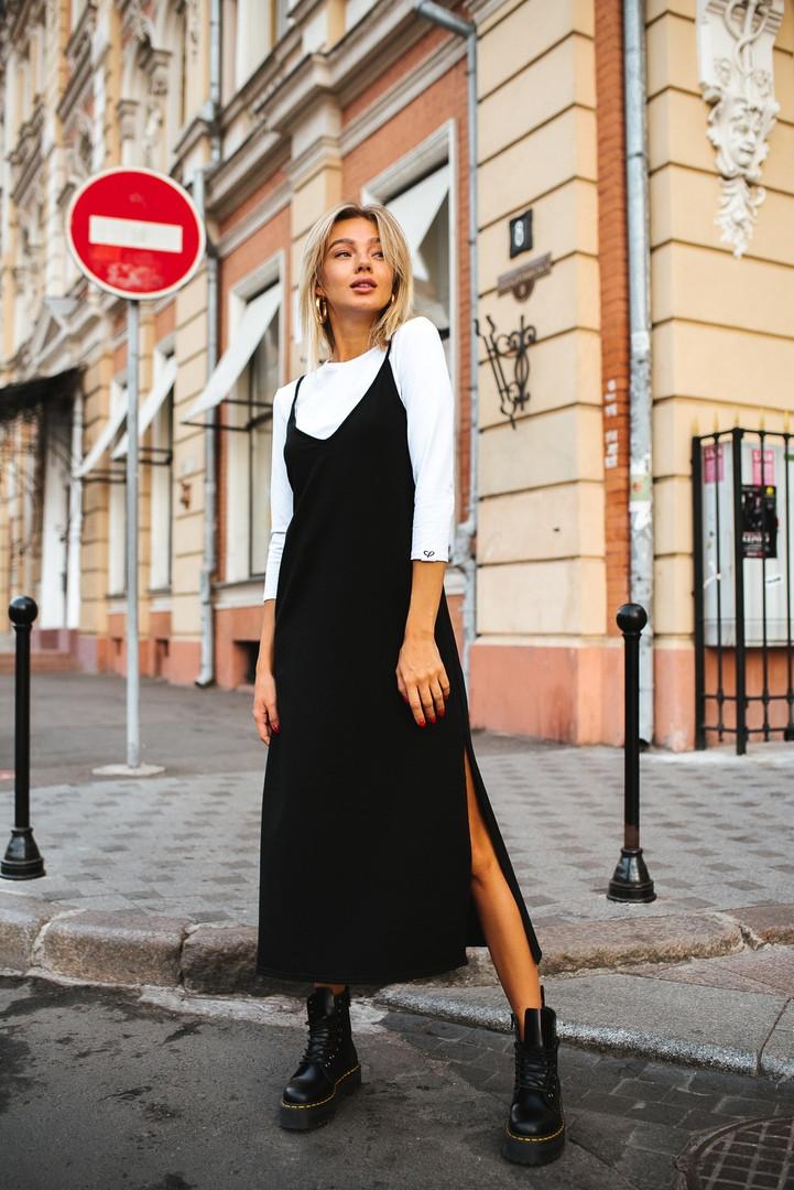 Женский костюм-двойка сарафан и гольф /черно-белый, 42-46, LL-022/