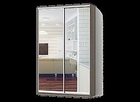 Шкаф-Купе Двухдверный Классик-1 ДСП Дуб Сонома Трюфель, 2 двери Зеркало (Luxe-Studio TM)