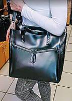 Черная кожаная сумка шоппер , сумки женские Молодежные, фото 1