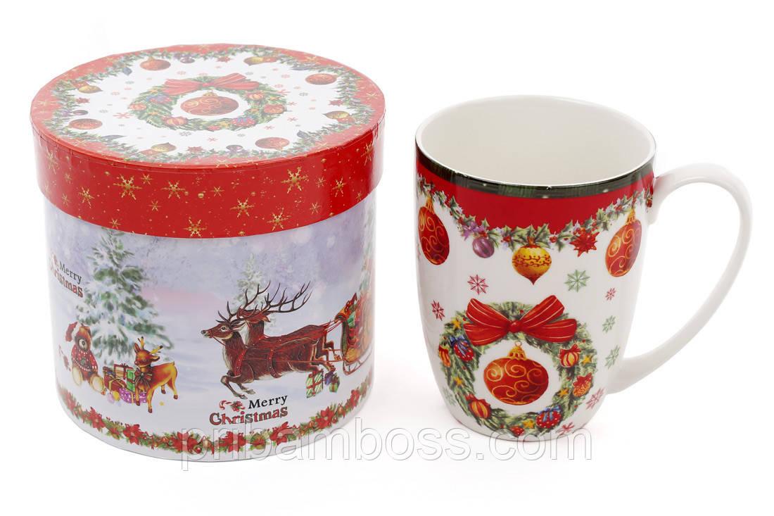 """Кружка фарфоровая """"Рождественский орнамент"""" в подарочной коробке, 375мл"""