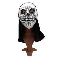 Карнавальная маска Череп, 20*38 см, полиэстер, белый. 462544)