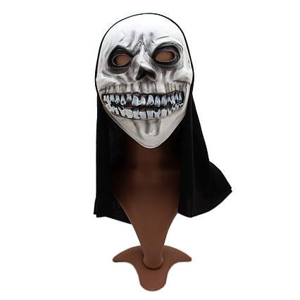 Карнавальная маска Череп, 20*38 см, полиэстер, белый. 462544
