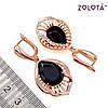 Сережки Zolota з чорними фіанітами (куб. цирконієм), з медичного золота, в позолоті, ЗЛ00415 (1), фото 2