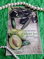 Тканевая маска для лица с экстрактом оливы (Olive) Nature Republic Real Nature Mask Sheet 23 гр