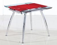 Стеклянный Стол обеденный Чикаго красный 110х80см, фото 1