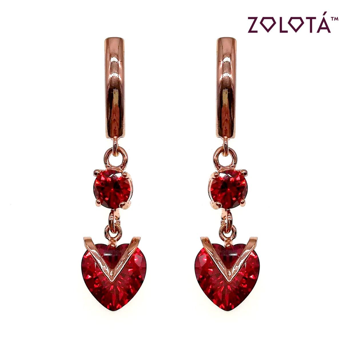 Серьги Zolota из медицинского золота с красными фианитами (куб. цирконием), в позолоте, ЗЛ00691 (1)