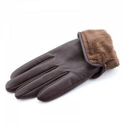 Зимние женские кожаные перчатки на меху