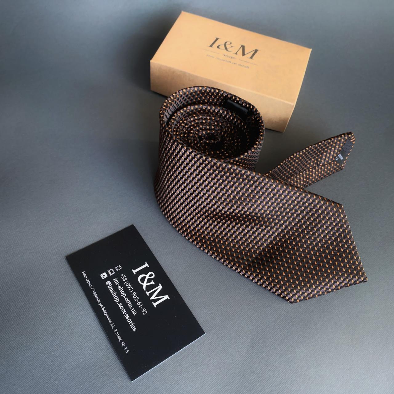 Галстук I&M Craft коричневый с золотым отливом (020333)