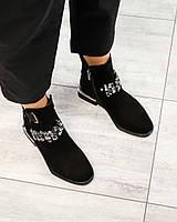 Деми ботинки замшевые с камнями черные