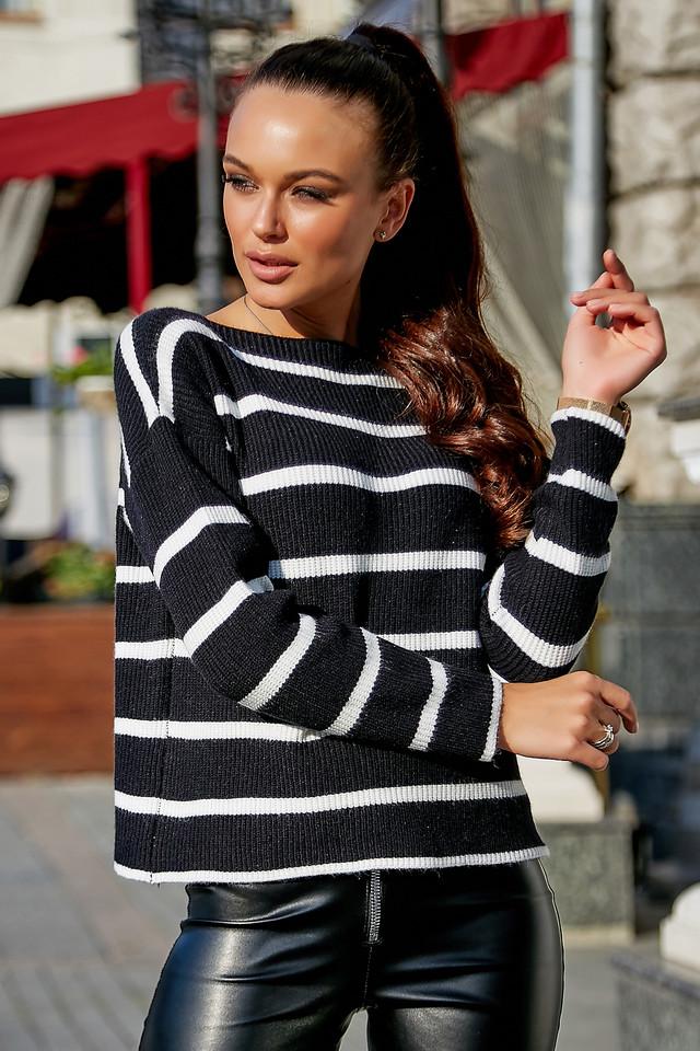 Жіночий чорний светр, р. 42-48, в'язка