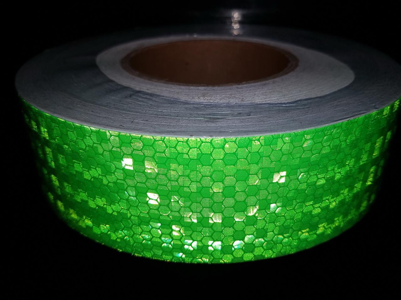 Светоотражающая самоклеящаяся ЗЕЛЕНАЯ лента рулон 50 м, ширина 5 см