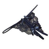 Черные стринги с разрезом Эротическое белье, фото 1