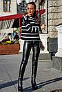 Женский чёрный свитер в полоску, р.42-48, вязка, фото 2