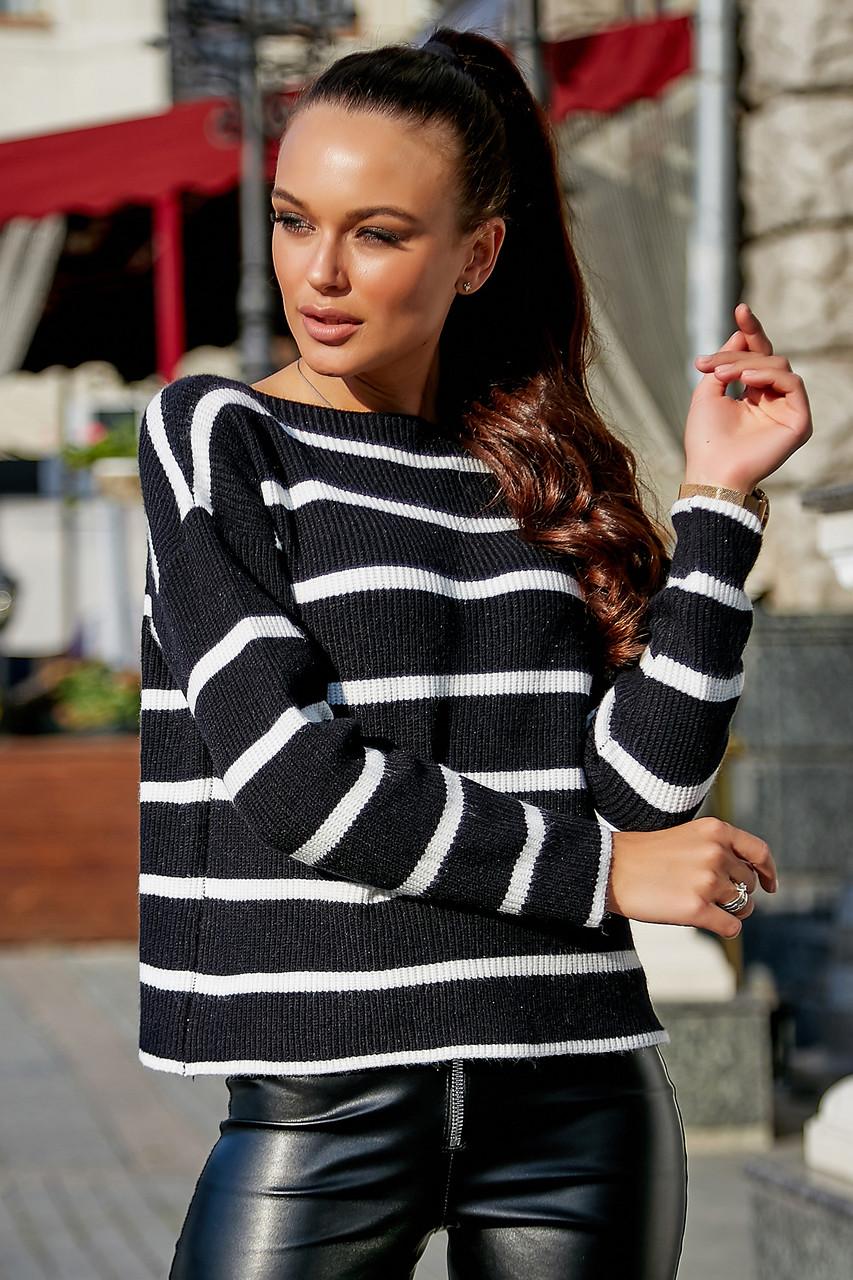 Женский чёрный свитер в полоску, р.42-48, вязка