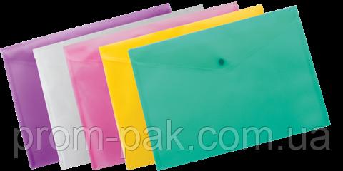 Папка конверт на кнопке А4 BUROMAX, ассорти, фото 2