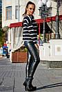 Жіночий чорний светр в смужку, р. 42-48, в'язка, фото 3
