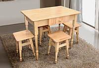 Комплект Кухонный деревянный стол + 4 табурета