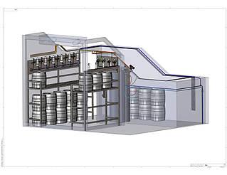 3D-модель системы хранения и подачи пива в холодной камере Varvar Bar. Вид сбоку.