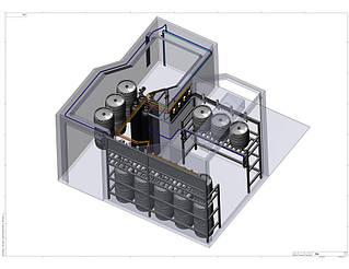 3D-модель системы хранения и подачи пива в холодной камере Varvar Bar. Вид сверху.