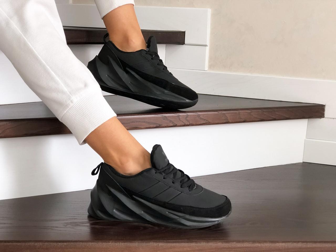 Подростковые зимние кроссовки Adidas Sharks,черные