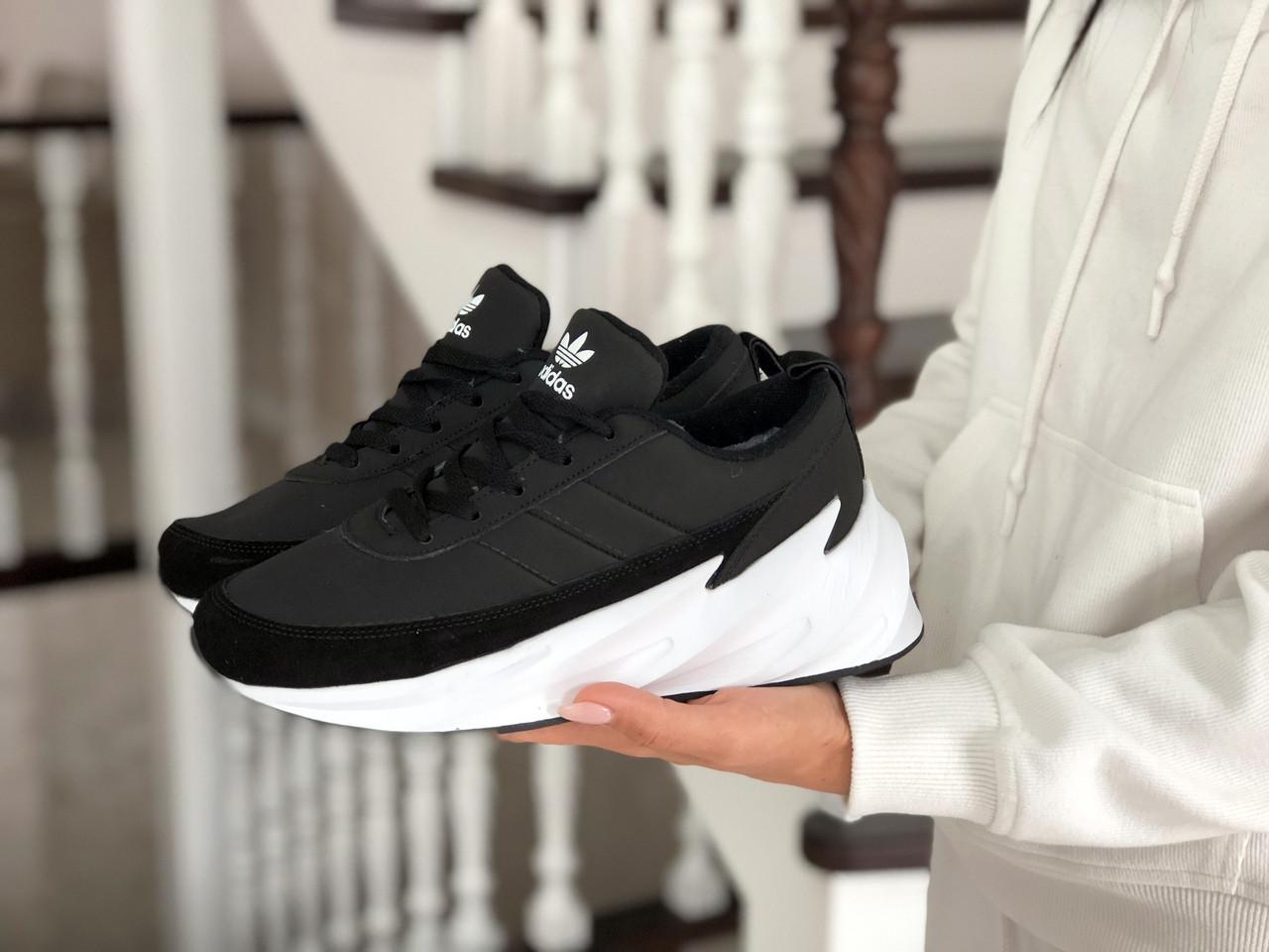 Подростковые зимние кроссовки Adidas Sharks,черно-белые