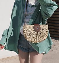 Плетеная сумочка на плечо 1468,2 бежевая