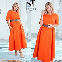 Женское платье удлиненное под пояс 54501