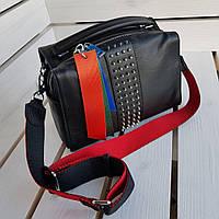 Женская черная кожаная сумка 01061