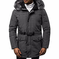Пуховик мужской теплый на зиму из полиэстера с карманами капюшоном, серый