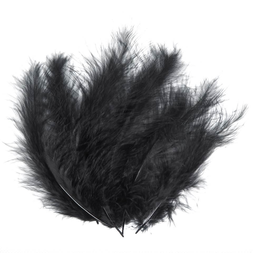 Декоративные перья черные (100 шт)