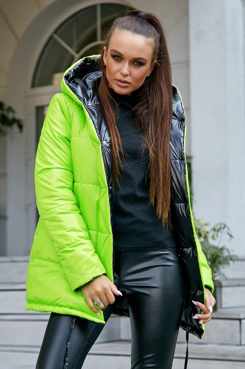 Стильная  двухсторонняя куртка осень-зима 1243.3684  неоновый с черным