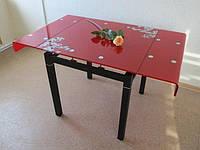 Стеклянный Стол кухонный Дамаск 80 красный