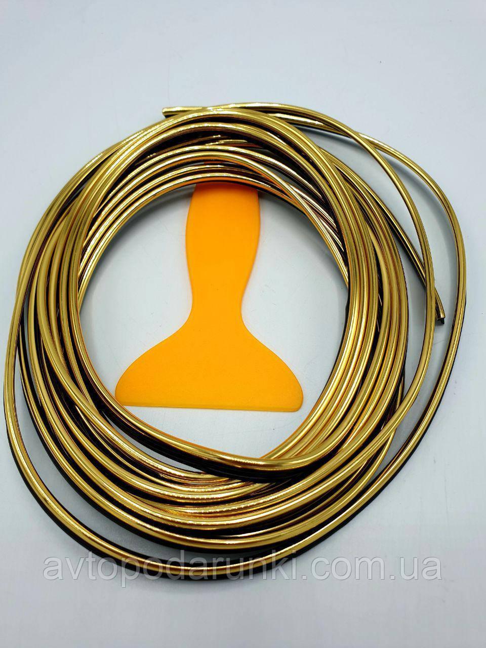 Стайлинг молдинг 3D лента для декора салона авто / Золото / 5м