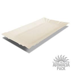 Тарелка картонная прямоугольная 14х20 см - 100 шт