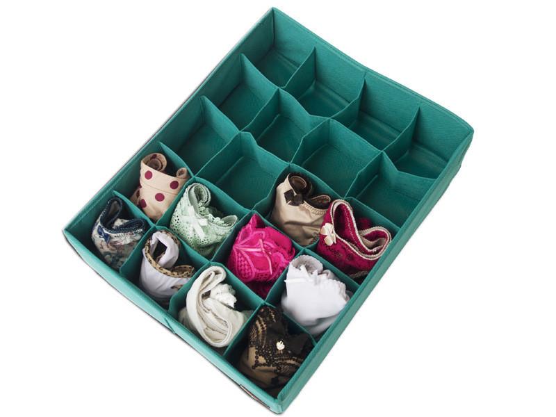 Органайзер коробочка для белья (трусиков, носочков) 20 ячеек Голубой без крышки