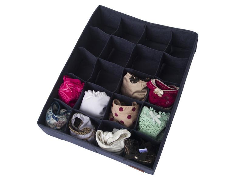 Органайзер коробочка с крышкой для белья (трусиков, носочков) 20 ячеек Синий без крышки