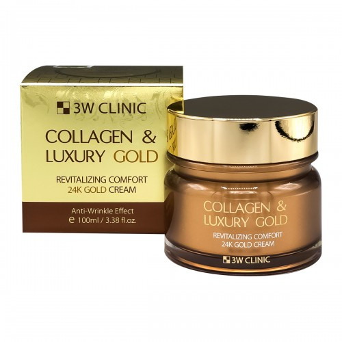 Антивозрастной крем для лица 3W CLINIC Collagen & Luxury 24K Gold Cream, 100ml