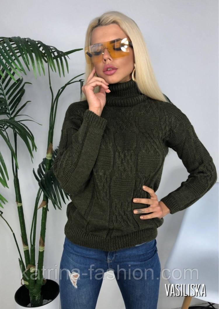 Женский вязаный свитер под горло(в расцветках)