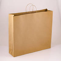 Бурый крафт пакет (бумажный) 480х140х540 с ручками горизонтальный