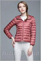 Ультратонкая розовая пуховая куртка с капюшоном OD-18-8230 скидка