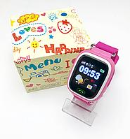 Оригинал! Детские умные часы Smart Baby watch Q90 розовый с GPS сенсорный экран+ подарочная упаковка