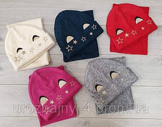 Трикотажный набор шапка и хомут на флисе р52-54. 5шт упаковка