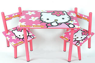 Дитяча дерев'яні меблі з героєм мультфільму Hello Kitty Столик і 2 стільці